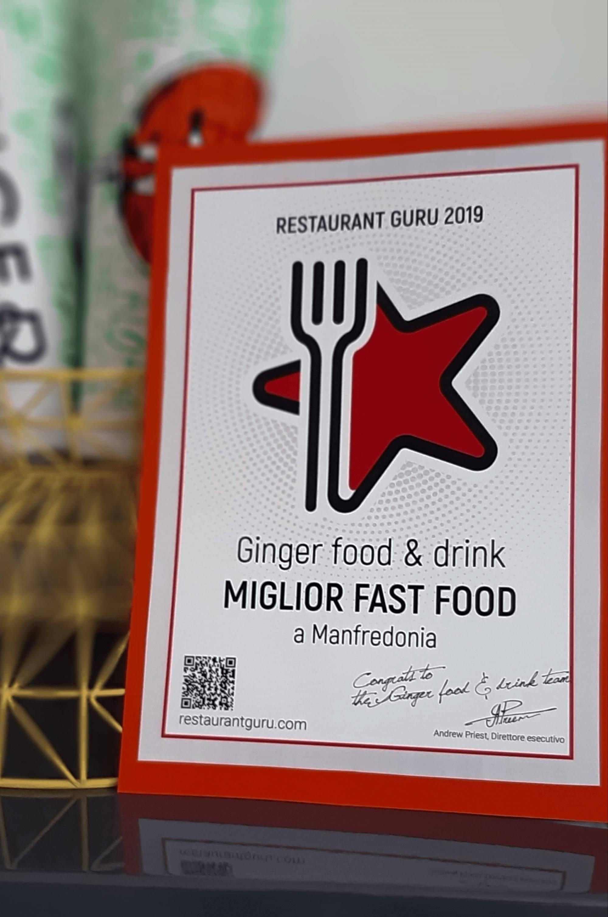 Ginger food & drink award