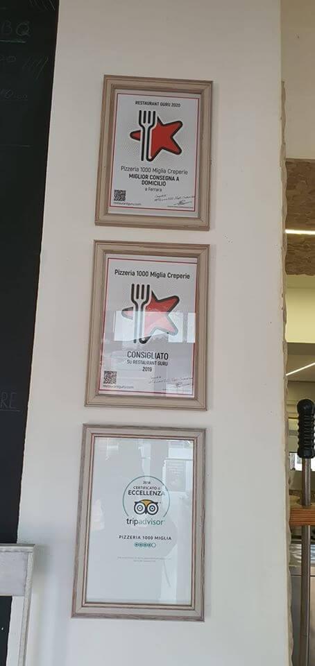 Pizzeria 1000 Miglia award