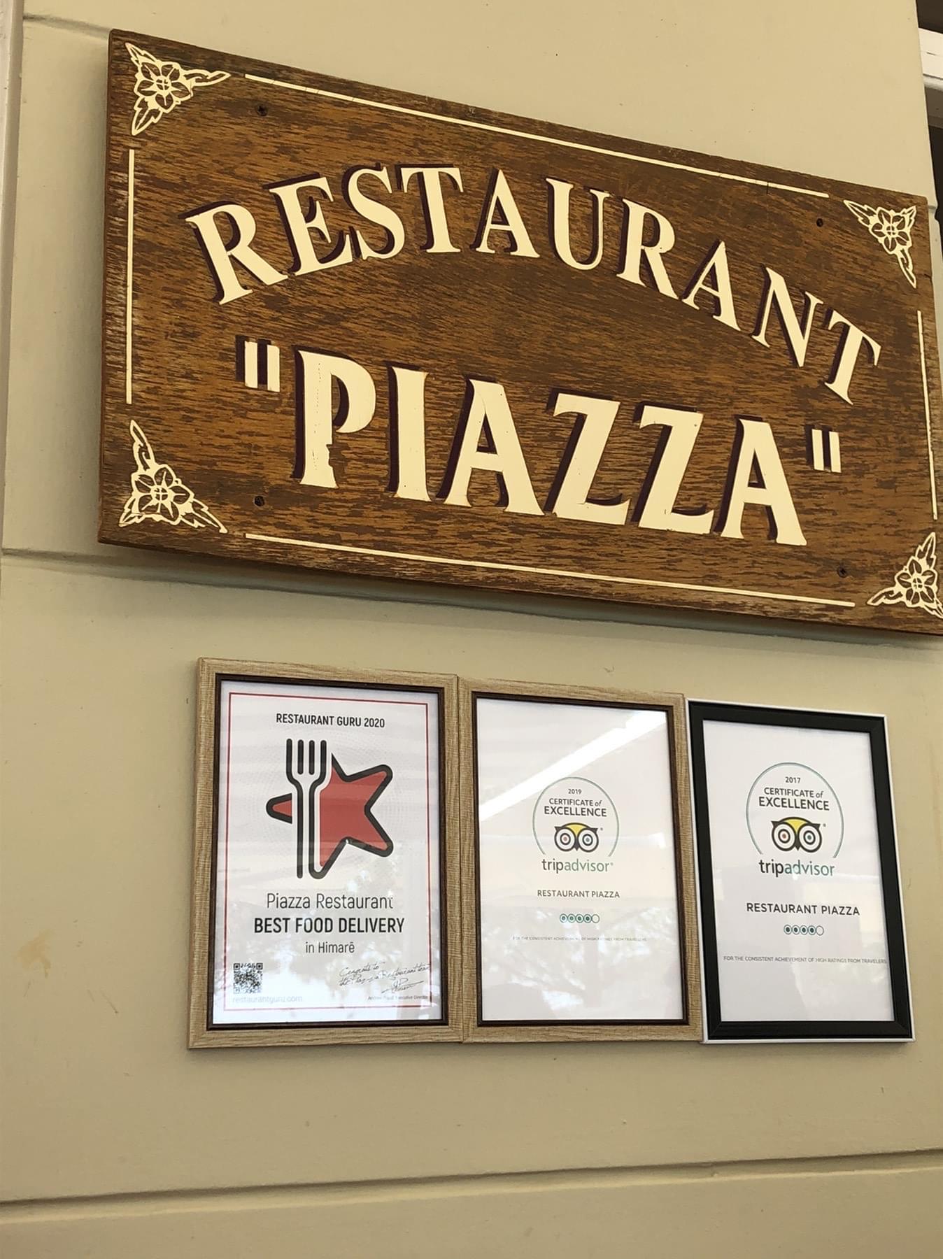 Piazza Restaurant award